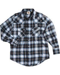 Ely Cattleman Men's Blue Western Flannel Shirt , , hi-res