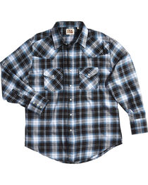 Ely Cattleman Men's Blue Western Flannel Shirt - Tall , , hi-res