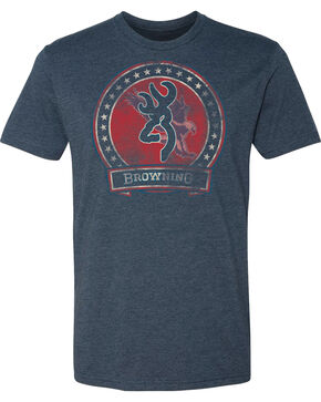 Browning Men's Clark Short Sleeve Tee, Navy, hi-res
