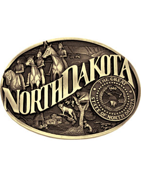 Montana Silversmiths North Dakota Buckle, Gold, hi-res