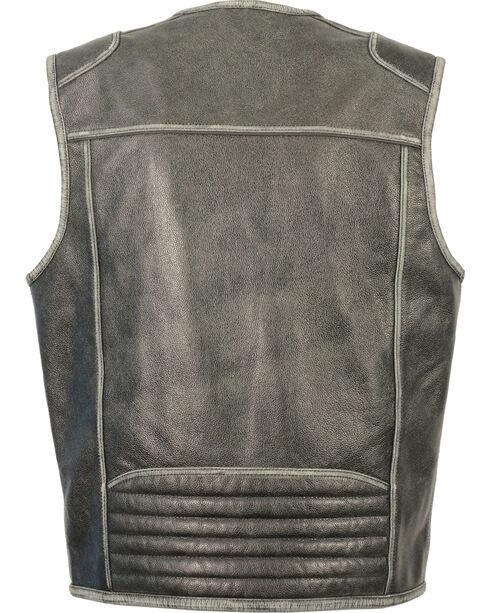 Milwaukee Leather Men's Vintage Distressed Zipper Front Vest - Big - 4X, Grey, hi-res