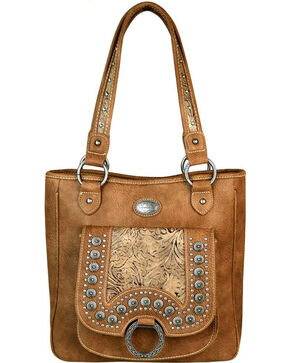 Montana West Women's Brown Concho Concealed Carry Tote , Brown, hi-res