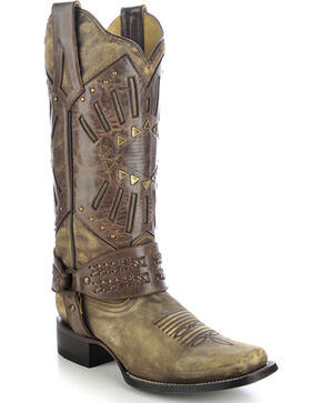 Corral Women's Whipstitch Harness Western Boots, Distressed, hi-res