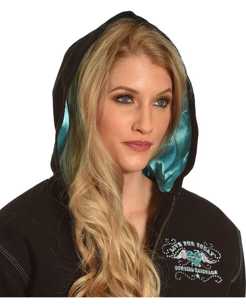 Cowgirl Hardware Women's Embroidered Canvas Hooded Jacket, Black, hi-res