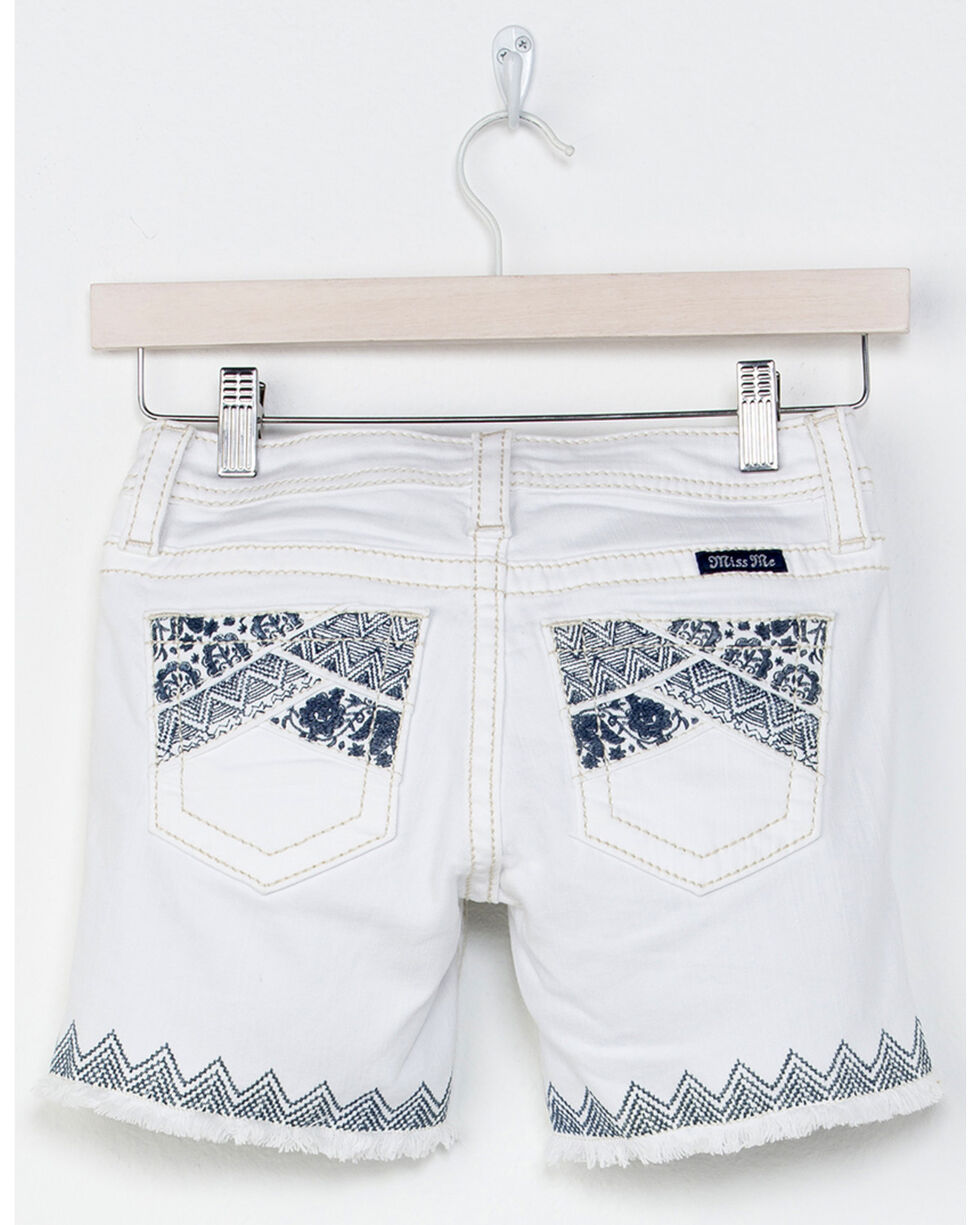 Miss Me Girl's Swept Away Bermuda Shorts, White, hi-res