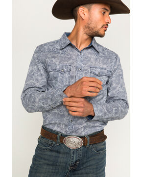 Cody James Men's Gangster Pinstripe Paisley Long Sleeve Western Snap Shirt, Navy, hi-res