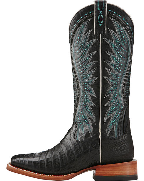 Ariat Women's Vaquera Caiman Belly Exotic Boots, Black, hi-res