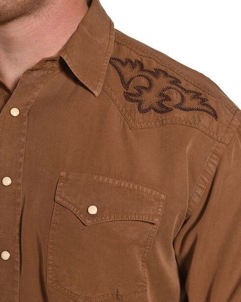 Rough Stock by Panhandle Men's Embroidered Crest Long Sleeve Western Shirt, Brown, hi-res