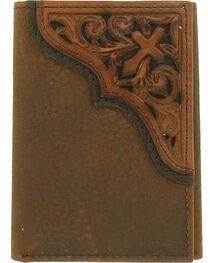 Ariat Men's Diagonal Cross Scroll Trifold Wallet , , hi-res