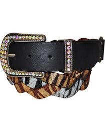 Cowgirls Rock Women's Multi Zebra Glitter Braid Belt, , hi-res