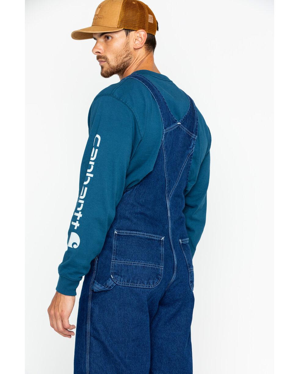 Carhartt Men's Washed-Denim Bib Unlined Overalls, Blue, hi-res