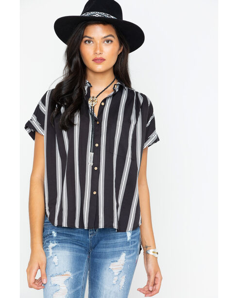 Shyanne Women's Striped Button Down Short Sleeve Top, Black/white, hi-res