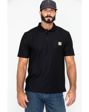 Carhartt Contractor's Work Pocket Polo Shirt, Black, hi-res