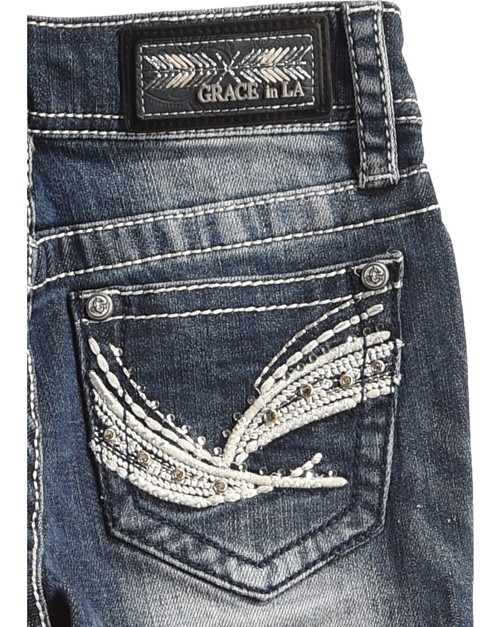 Grace in LA Girls' Blue Brushstroke Bling Pocket Jeans - Boot Cut , Blue, hi-res