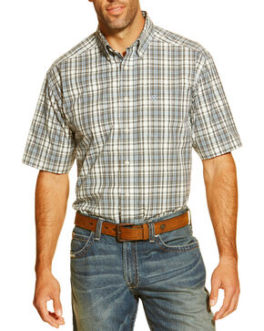 Ariat Men's Garban Short Sleeve Western Shirt, White, hi-res