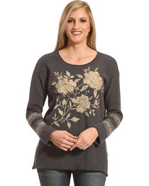 Johnny Was Women's Charcoal Magdalene Thermal Shirt , , hi-res