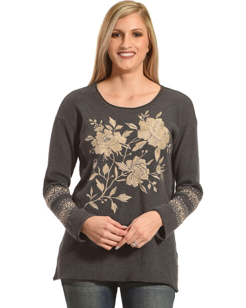 Johnny Was Women's Charcoal Magdalene Thermal Shirt , Charcoal, hi-res