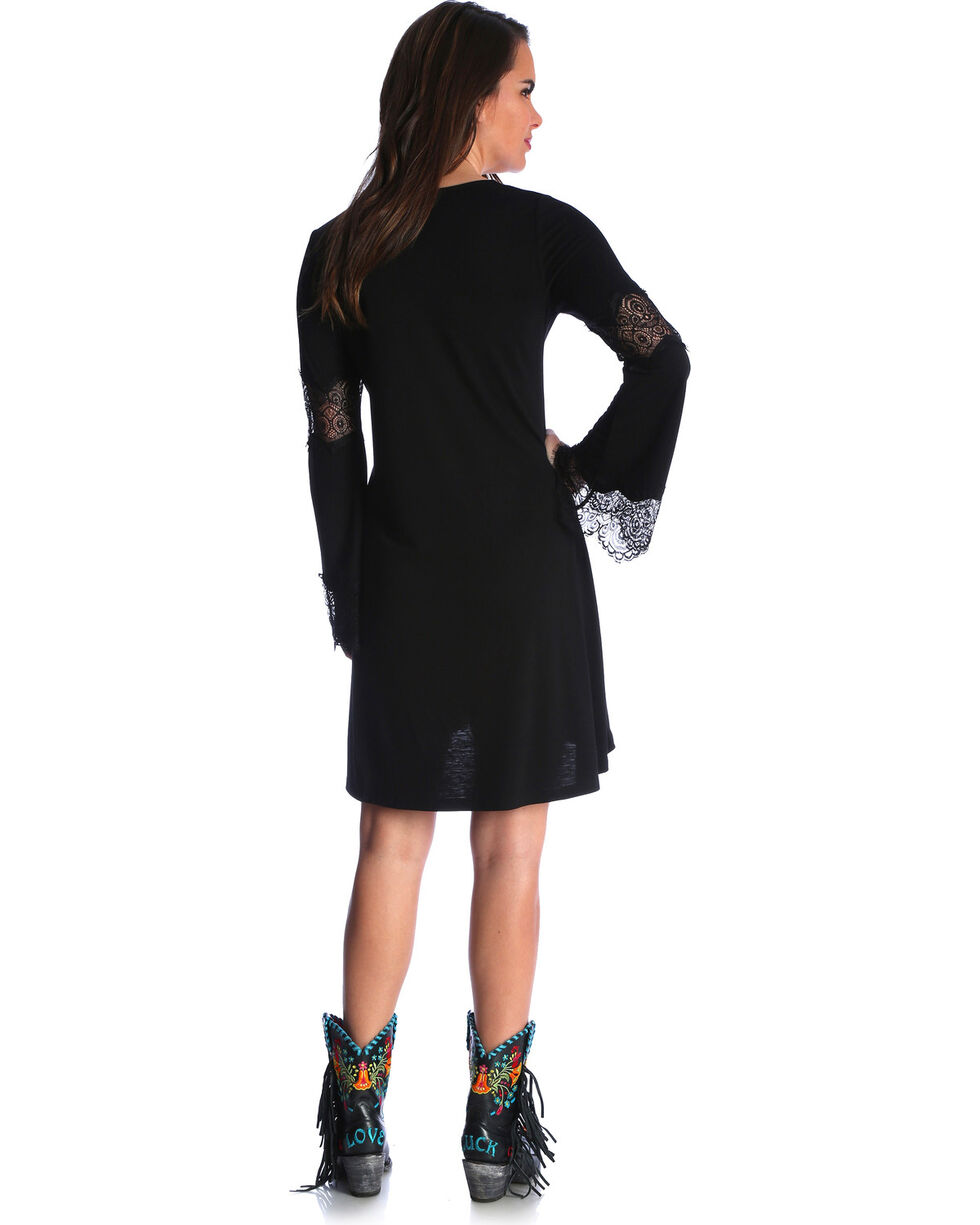Wrangler Women's Black Crochet Bell Sleeve Dress , Black, hi-res