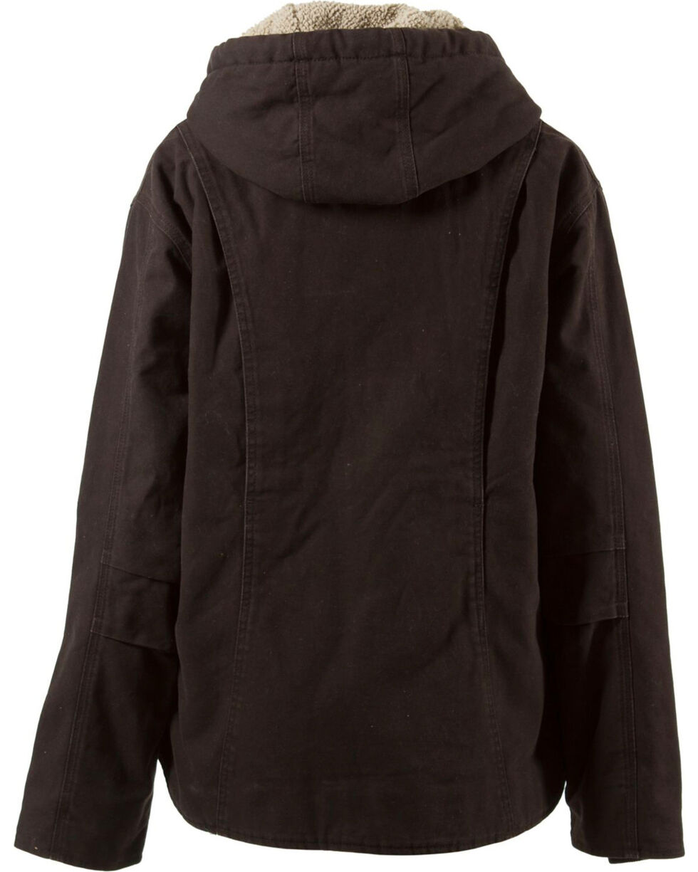 Berne Women's Washed Sherpa-Lined Hooded Coat, Dark Brown, hi-res