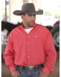 Cinch Men's Red Printed Plain Weave Long Sleeve Button Down Shirt - Big & Tall, , hi-res