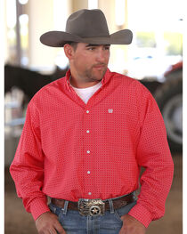 Cinch Men's Red Plain Weave Print Long Sleeve Button Down Shirt, , hi-res
