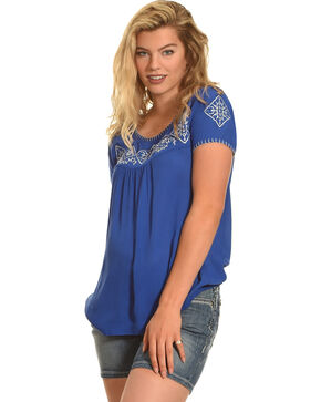 Angel Ranch Women's Medallion Top, Blue, hi-res
