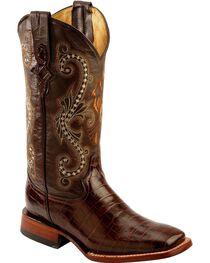 Ferrini Chocolate Alligator Belly Print Cowgirl Boots - Wide Square Toe, , hi-res