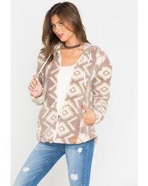 Shyanne Zip Sherpa Hoodie Aztec Design, , hi-res