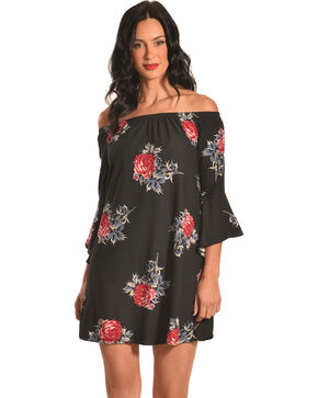 Derek Heart Women's Off The Shoulder Floral Print Trapeze Dress, Black, hi-res