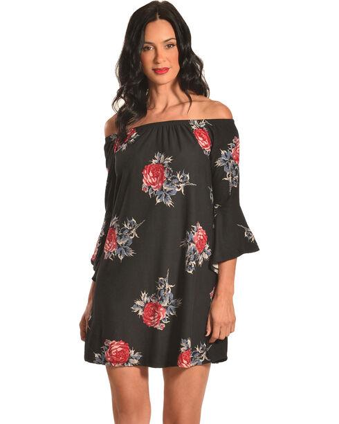 Derek Heart Women's Off The Shoulder Floral Print Trapeze Dress, Black, hi-res