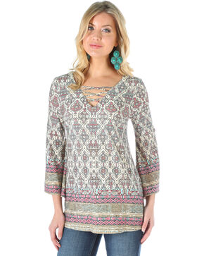 Wrangler Women's Geometric Print Trumpet Sleeve Top, Multi, hi-res