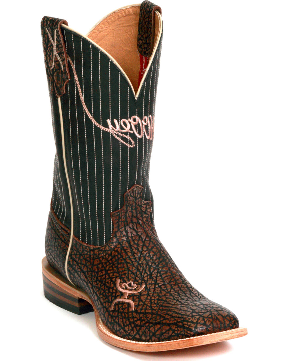 HOOey by Twisted X Men's Bull Hide Square Toe Western Boots, Brown, hi-res