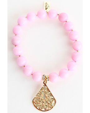 Everlasting Joy Jewelry Women's Light Pink Gold Dangle Bracelet , Light Pink, hi-res
