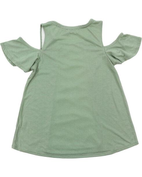 Tempted Girls' Cold Shoulder Floral Glitter Short Sleeve Shirt , Turquoise, hi-res