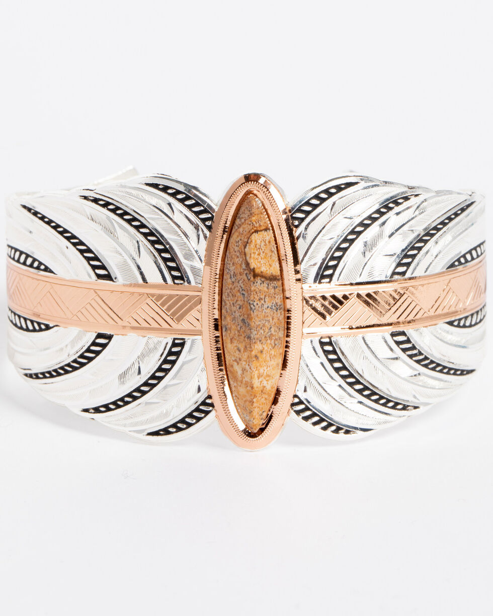 Montana Silversmiths Women's Southwestern Ties To The Earth Cuff Bracelet , Silver, hi-res