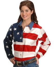 Roper Women's Long Sleeve American Flag Shirt - Plus, , hi-res