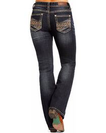 Rock & Roll Cowgirl Women's Blue Mid-Rise Multi Color Thread Jeans - Boot Cut , , hi-res