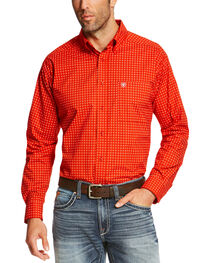Ariat Men's Orange Shasta Long Sleeve Western Shirt , , hi-res