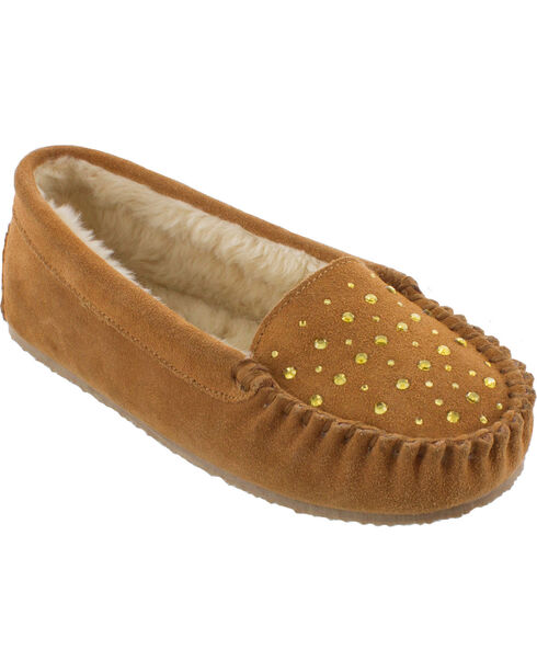 Minnetonka Women's Rhinestone Slippers, Cinnamon, hi-res