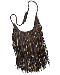 Kobler Leather Black Bead and Fringe Gypsy Bag , , hi-res