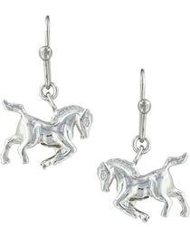 Montana Silversmiths Women's Silver Prancing Horse Earrings , Silver, hi-res