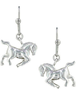Montana Silversmiths Women's Silver Prancing Horse Earrings , Silver, hi-res