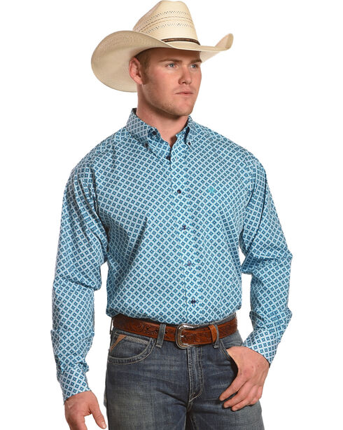 Ariat Men's Casual Series Godwin Print Long Sleeve Button Down Shirt, Turquoise, hi-res