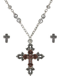 Shyanne® Women's Sparkling Crosses Jewelry Set, , hi-res