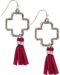 Shyanne® Women's Cross Cutout Tassel Earrings, , hi-res