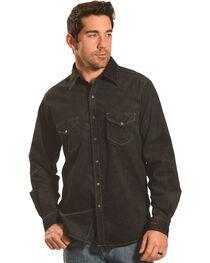 Ryan Michael Men's Black Embossed Paisley Western Shirt, , hi-res