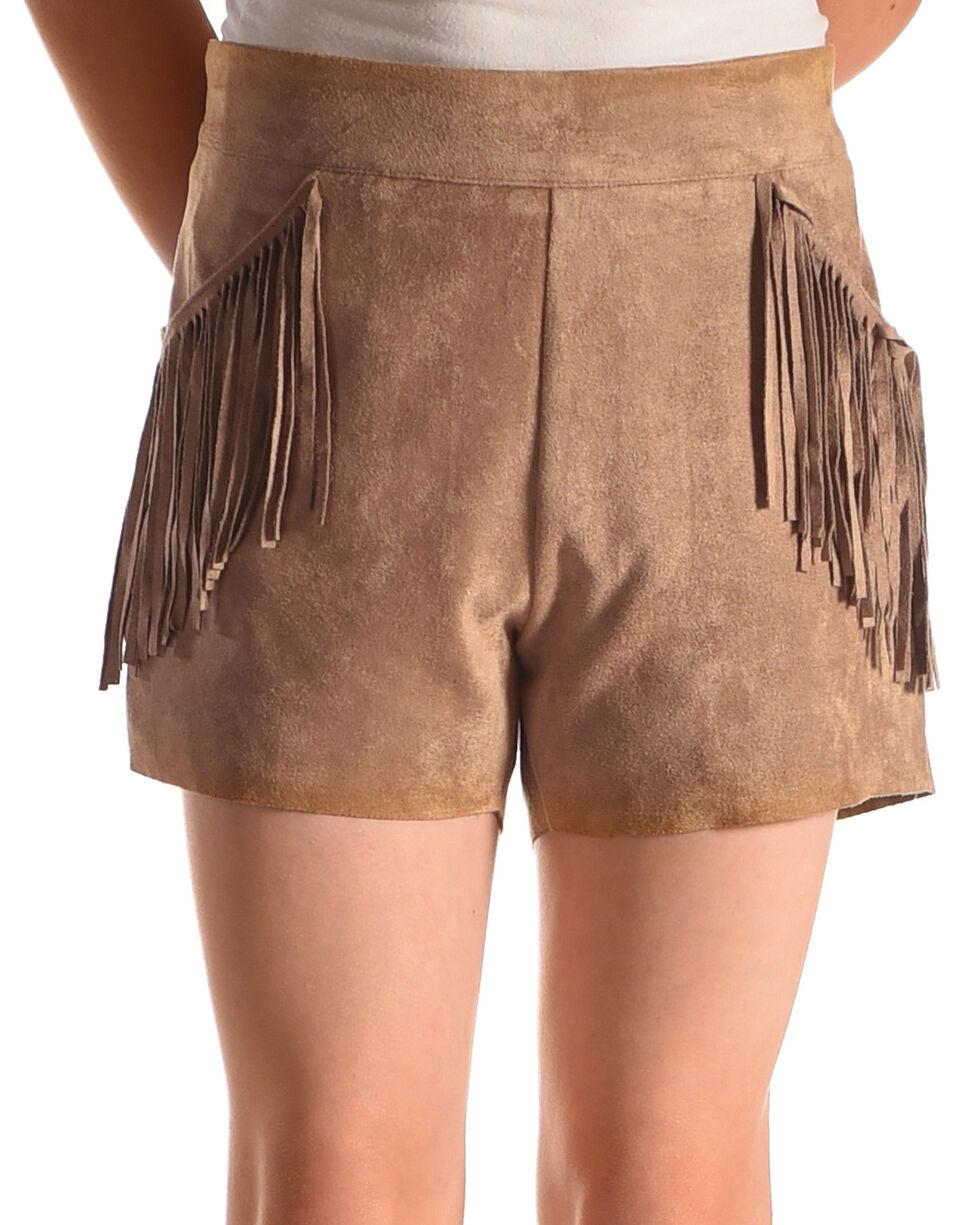 Idol Mind Girls' Brown Faux Suede Fringed Shorts , Brown, hi-res