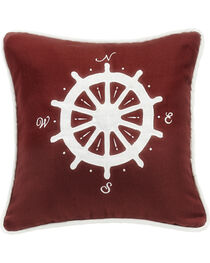 HiEnd Accents Red Compass Embroidery Pillow, , hi-res
