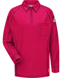 Bulwark Men's Red iQ Series Flame Resistant Long Sleeve Polo - Big & Tall , , hi-res