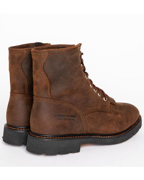 "Cody James Men's 8"" Waterproof Lace-Up Kiltie Work Boots - Round Toe, Brown, hi-res"